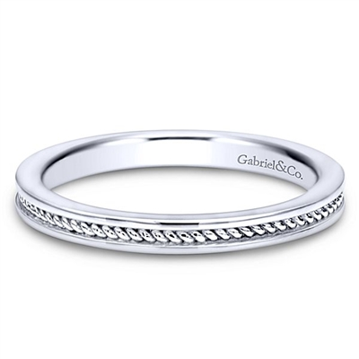This 14k white gold stackable ring features a rope that wraps around your finger.