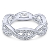 14k white gold and diamonds twist in this stackable ring.
