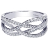 Nearly one half carat in round brilliant diamonds unite with 14k white gold in this variation of a 14k white gold diamond rope fashion ring.