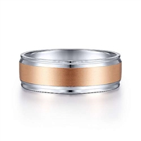 Two tones of 14k white gold meld together to create this beautiful 7mm men's wedding band.