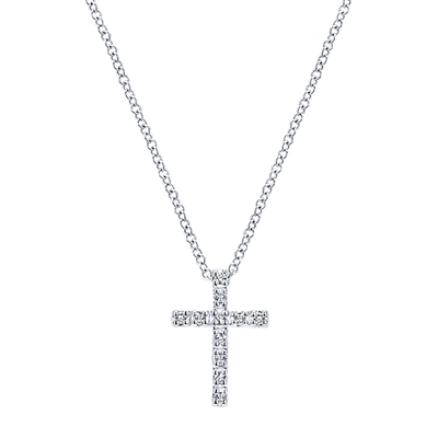 This simple and stylish 14k white gold diamond cross necklace showcases 0.10 carats of diamond brilliance with a 14k white gold link chain.