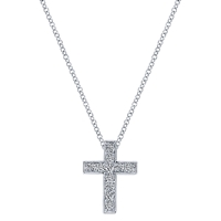 A 14k white gold diamond cross necklace with 0.24 carats of round brilliant diamonds, ll bordered by a milgrain finish.