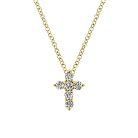 A 14k yellow gold cross loaded with spectacular round brilliant diamonds create this shimmering and shining diamond cross necklace.