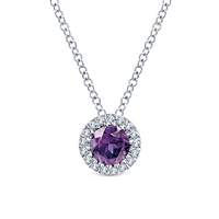 This 14k white gold purple amethyst and diamond necklace features .07 carats of diamonds.