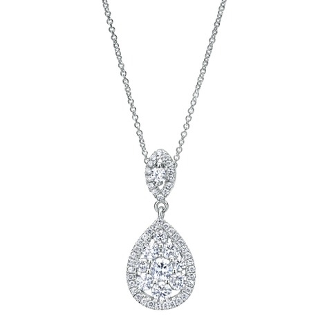 14k white gold pear shape diamond cluster necklace aloadofball Image collections