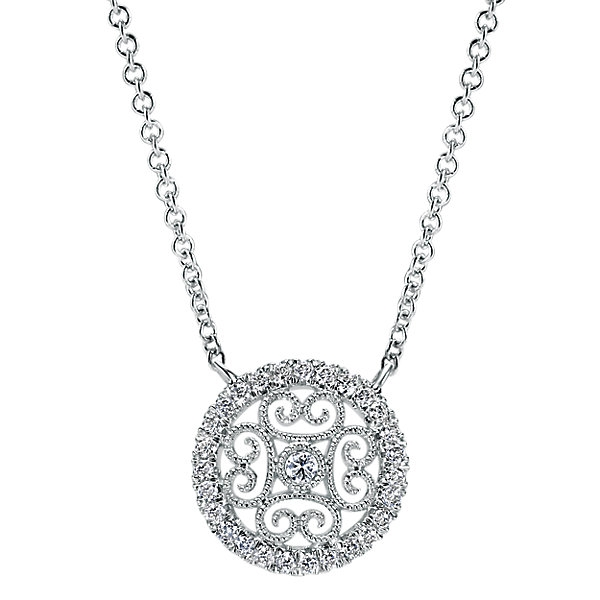 14k white gold diamond filigree necklace aloadofball Choice Image