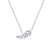 A diamond set 14k white gold feather necklace in your choice of length!