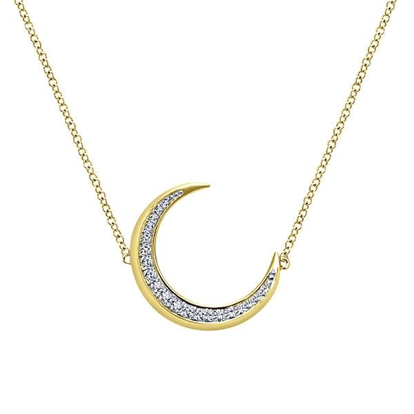 98729c6c6 14K Yellow Gold Diamond Moon Necklace