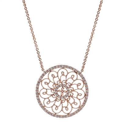 Gorgeous diamonds shine in this 14k rose gold opulently styled diamond necklace.