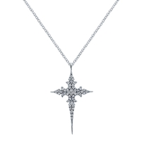This bold diamond cross necklace features 0.21 carats in diamond shine with sharp borders and sleek lines in 14k white gold.