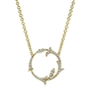 this clever and innovative yellow gold necklace in 14k is decorated with diamonds in this circle of life pendant necklace combo.