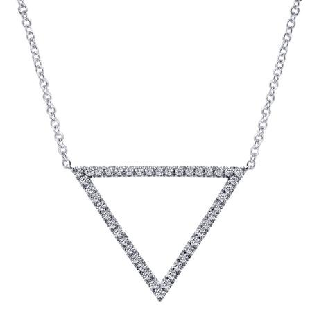 0075b226bc9ec 14K White Gold Hanging Diamond Triangle Necklace