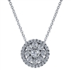 This sunburst style necklace is filled with one half carats of round brilliant diamonds is surrounded by a radiant diamond halo that puts this whole piece together!