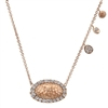 14k rose gold and round brilliant diamonds mix in this fashionable and nature inspired necklace by Gabriel & Co.