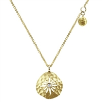 This stylish and fun 14k yellow gold diamond necklace with a hammered texture and a yellow gold tag is a great, unique and fun 14k yellow gold diamond necklace.