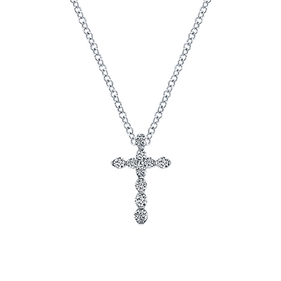 This 14k white gold diamond necklace boasts round brilliant diamonds in a bar style setting shows off the diamond shimmer.