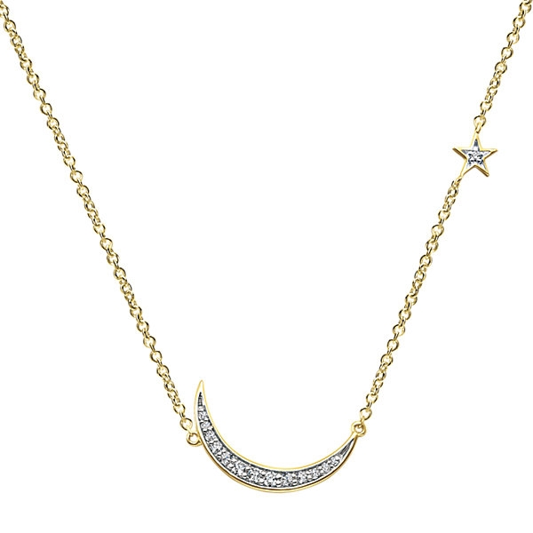 14k yellow gold diamond moon star necklace aloadofball Image collections