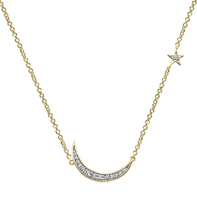 This shining diamond necklace glistens like the moon and stars above!