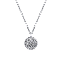 This simple and elegant diamond cluster features round brilliant diamonds in 14k white gold.