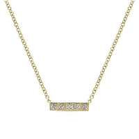 14 yellow gold creates this diamond bar necklace.
