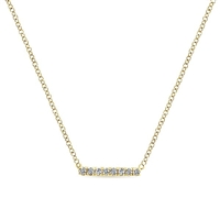 14k yellow gold diamond bar necklace with diamond accents