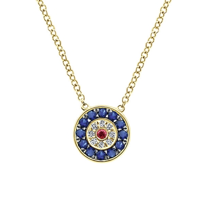 This 14k yellow gold evil eye necklace features diamonds, rubies and sapphires, oh my!
