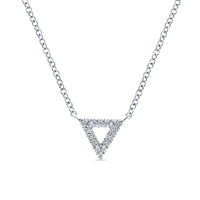 In 14k white gold, this open triangle diamond necklace shimmers.