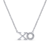 14K White Gold Diamond XO Necklace