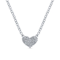 This 14k white gold diamond heart necklace features round brilliant diamonds.