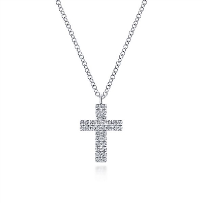 A diamond cross with 0.17 carats of diamonds in 14k white gold.
