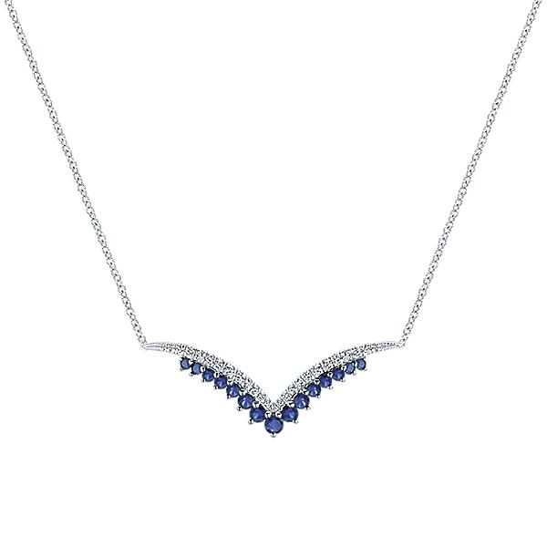 14k white gold sapphire diamond v necklace mozeypictures Choice Image