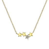 This 14k yellow gold diamond star necklace features delicate diamond accents.