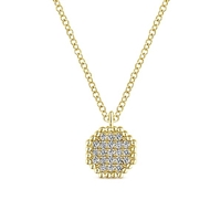 14k yellow gold diamond cluster necklace with diamond accents.