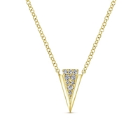 14k yellow gold and diamonds form this necklace.