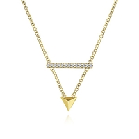 A 14k yellow gold triangle and a diamond bar mix well together n this fashion necklace.