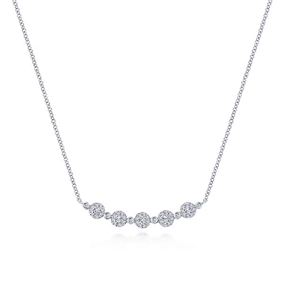 This graceful bar necklace is curved in 14k white gold.