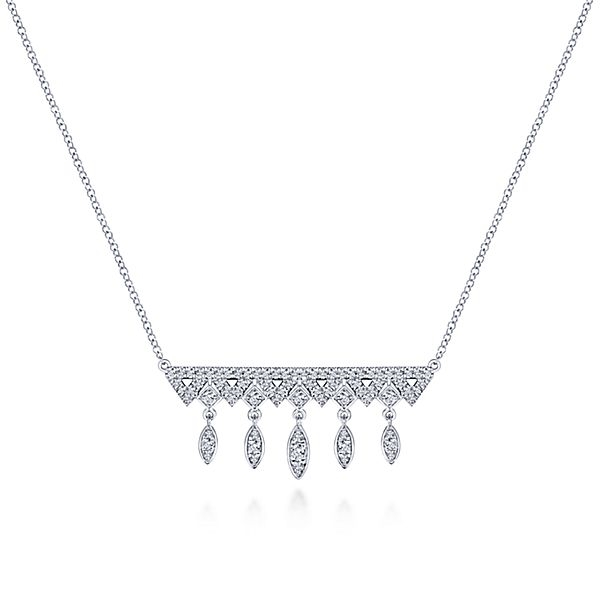 37167bf63cbc3 14K White Gold Diamond Drop Bar Necklace