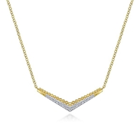 Beaded Diamond Necklace in 14k yellow gold with diamond accents.