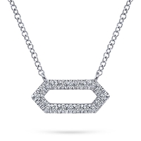 14k white gold and diamond hexagon bar necklace.