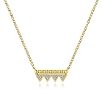 14k yellow gold beaded bar necklace features diamond accents.