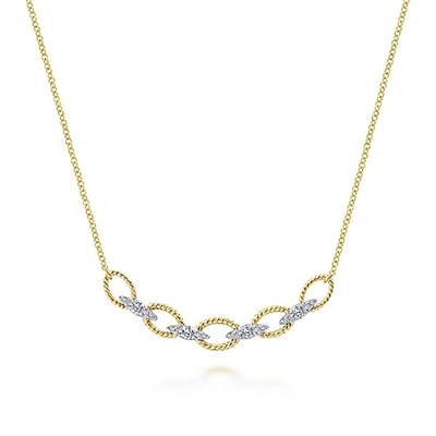 This 14k two tone diamond link and loop necklace features round brilliant diamonds.
