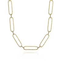 A 14k yellow gold long link necklace.
