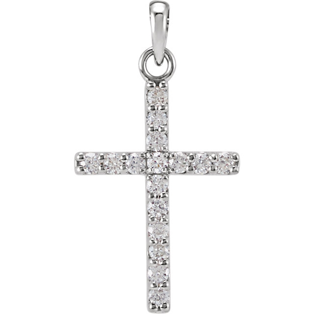 14k white gold diamond cross necklace mozeypictures Choice Image