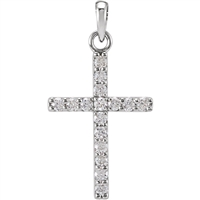 A beautifully simple quarter carat diamond cross necklace with a sturdy, 14k white gold link chain.