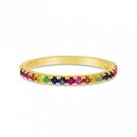 This 14k yellow gold rainbow sapphire ring glistens with round sapphire stones in every color of the rainbow.