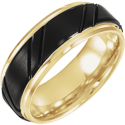 This men's wedding band features black and yellow tungsten.