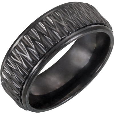This black titanium men's wedding band is 8 mm wide.