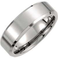 Titanium men's wedding band with beveled edge.