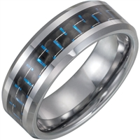 This tungsten and carbon fiber inlay band is 8 mm wide.