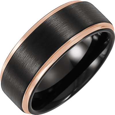 This mens wedding band features a black and pink color scheme.
